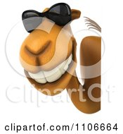 Clipart 3d Happy Camel With A Sign And Sunglasses Royalty Free CGI Illustration