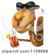Clipart 3d Happy Camel In Sunglasses Drinking Tea Around A Sign Royalty Free CGI Illustration