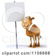 Clipart 3d Happy Camel With A Sign Royalty Free CGI Illustration