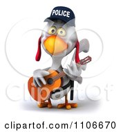 Clipart 3d Police Chicken Playing A Guitar 2 Royalty Free CGI Illustration