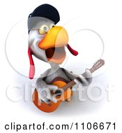 Clipart 3d Police Chicken Playing A Guitar 3 Royalty Free CGI Illustration