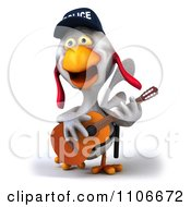 Clipart 3d Police Chicken Playing A Guitar 1 Royalty Free CGI Illustration