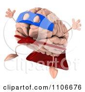 Clipart 3d Super Brain Character Jumping 2 Royalty Free CGI Illustration