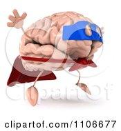 Clipart 3d Super Brain Character Jumping 1 Royalty Free CGI Illustration