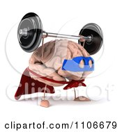 Clipart 3d Super Brain Character Lifting A Barbell 2 Royalty Free CGI Illustration