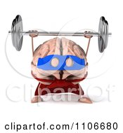 Clipart 3d Super Brain Character Lifting A Barbell 1 Royalty Free CGI Illustration