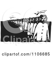 Clipart People Waiting In A Long Line Black And White Woodcut Royalty Free Vector Illustration