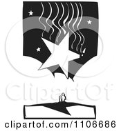 Clipart Parent And Child Under A Huge Falling Star Black And White Woodcut Royalty Free Vector Illustration by xunantunich
