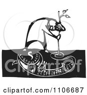 Clipart Man Drawing A Monster In The Dirt With A Stick Black And White Woodcut Royalty Free Vector Illustration