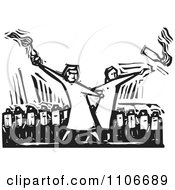 Clipart Security Guards In A Row Behind People Partying With Alcohol Black And White Woodcut Royalty Free Vector Illustration