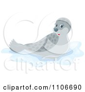 Clipart Cute Gray Spotted Seal Royalty Free Vector Illustration by Alex Bannykh