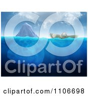 Clipart 3d Dollar Boat Floating Near An Iceberg Royalty Free CGI Illustration