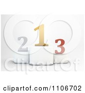 Clipart 3d Gold Silver And Bronze Numbers On Placement Podiums Royalty Free CGI Illustration