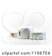 Clipart 3d Gold Silver And Bronze Roman Numeral Numbers On Podiums Royalty Free CGI Illustration