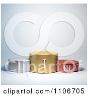 Clipart 3d Roman Numeral Numbers On Gold Silver And Bronze Podiums Royalty Free CGI Illustration