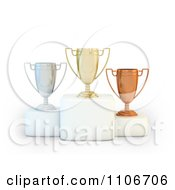 Clipart 3d Gold Silver And Bronze Placement Trophy Cups On Pedestals Royalty Free CGI Illustration