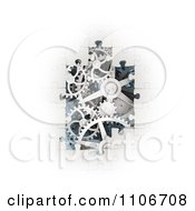 Clipart 3d White Puzzle Pieces Revealing Gear Gogs Royalty Free CGI Illustration