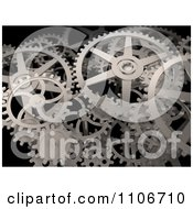 Clipart 3d Industrial Gear Cogs On Black Royalty Free CGI Illustration