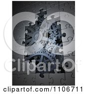 Poster, Art Print Of 3d Metal Puzzle Pieces Revealing Steel Gear Gogs