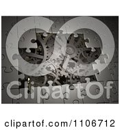 Clipart 3d Metal Puzzle Pieces Revealing Gear Gogs Royalty Free CGI Illustration