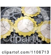 Clipart 3d Euro Coin Gear Cogs Royalty Free CGI Illustration by Mopic