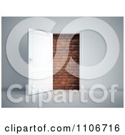 Clipart 3d Door Open To A Brick Wall Royalty Free CGI Illustration