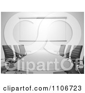 Clipart 3d Office Conference Room With Chairs A Table And Presentation Screen Royalty Free CGI Illustration by Mopic