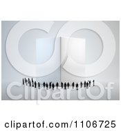 Clipart 3d Tiny People Around A Large Cube Royalty Free CGI Illustration