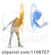 Clipart 3d Person Waving And Using A Teleportation Portal Royalty Free CGI Illustration