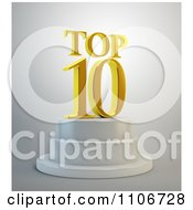 Clipart 3d Gold Top 10 Text Resting On A Podium Royalty Free CGI Illustration