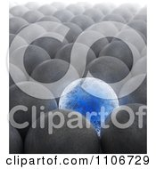 Clipart 3d Blue Electric Sphere Surrounded By Plain Metal Spheres Royalty Free CGI Illustration