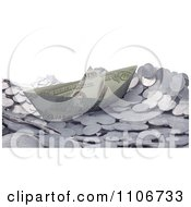 Clipart 3d Cash Boat Floating On Silver Coin Waves Royalty Free CGI Illustration