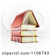3d Books Forming A House Foundation And Roof