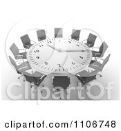 Clipart 3d Round Clock Meeting Table With Office Chairs Royalty Free CGI Illustration by Mopic