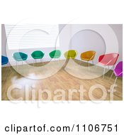 Clipart 3d Colorful Chairs In A Circle In An Empty Room Royalty Free CGI Illustration by Mopic