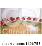 Clipart 3d Red And Orange Chairs In A Circle In An Empty Room Royalty Free CGI Illustration by Mopic
