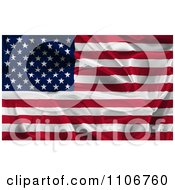 Clipart Creased 3d American Flag Royalty Free CGI Illustration