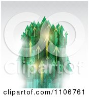 Clipart Green And Golden Arrows Shooting Upwards On Gray Royalty Free Vector Illustration