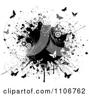 Clipart Black And White Butterflies Circles And Vines With An Ink Splatter On White Royalty Free Vector Illustration