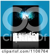 Clipart Grungy Party Flyer Leaning Against Blue Halftone Royalty Free Vector Illustration