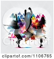 Clipart Silhouetted Dancers Grooving And Jumping Against Colorful Pyramids With Light On Gray Royalty Free Vector Illustration
