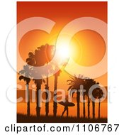 Clipart Lone Silhouetted Surfer Walking Under Palm Trees Against An Orange Tropical Sunset Royalty Free Vector Illustration