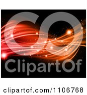 Clipart Twisting Red And Orange Light Waves With Sparkles On Black Royalty Free CGI Illustration