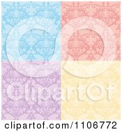 Clipart Seamless Blue Pink Purple And Yellow Damask Background Patterns Royalty Free Vector Illustration by Amanda Kate