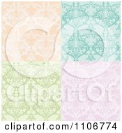 Clipart Seamless Lacy Orange Turquoise Green And Purple Damask Background Patterns Royalty Free Vector Illustration by Amanda Kate