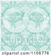 Clipart Seamless Lacy Turquoise Damask Background Pattern Royalty Free Vector Illustration