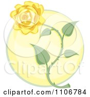 Clipart Yellow Rose Over A Circle Royalty Free Vector Illustration