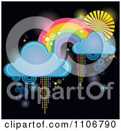Clipart Rainbow With Clouds And Pixel Trails On Black Royalty Free Vector Illustration