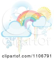 Pastel Rainbow With Clouds And Pixel Trails On White
