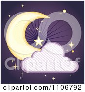 Clipart Crescent Moon And Cloud With A Line Pattern Over Purple With Stars Royalty Free Vector Illustration